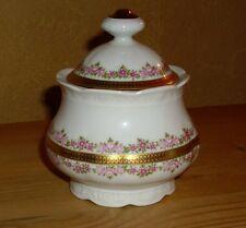 Mitterteich Bavaria 1 Zuckerdose, rosa  Blütendekor, dicker  Goldrand