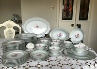 VINTAGE-HALSEY- Pattern DAMASK ROSE 402-JAPAN-Dinnerware Set-56 Pieces-CLASSY