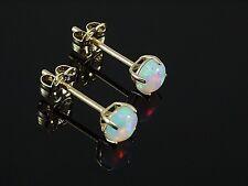 585 Gold Ohrstecker mit Opal Kugel 4 Krappenfassung 4 mm 1 Paar in Geschenkbox