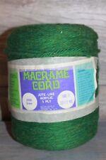 Vtg 70s Lehigh Sales Green 6960 Macrame Cord Jute-Like Acrylic 5 Ply 1000 Ft NoS