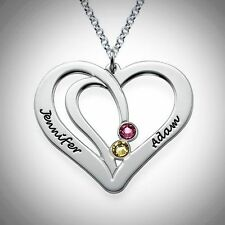 Couples Necklace Personalize Heart Names Birthstones Custom STERLING SILVER Gift