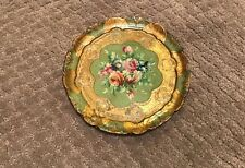 Vintage Round Green And Gold Florentine Tray With Hand Painted Flowers