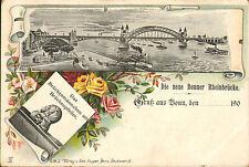 postcard of die neue bonner rheinbrucke .  1900s - verlag - seb -foppen - benn
