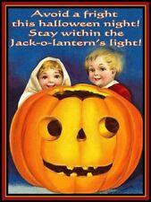 Jack-o-Lantern Light on Halloween Night Pumpkin Metal Sign