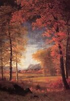Huge art Oil Albert Bierstadt - Autumn in America Oneida County New York & trees