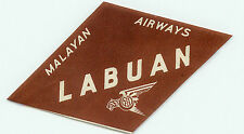 SINGAPORE MALAYAN AIRWAYS TO LABUAN VINTAGE AIRLINE LUGGAGE LABEL