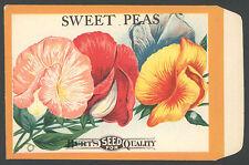 ORIGINAL VINTAGE SEED PACKET SWEET PEAS FLOWERS ADVERTISING C1910 BURTS MIXED