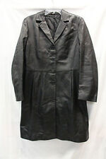 Marks and Spencer Womens Long Dress Coat Leather Black Size UK 12 Excellent 2253