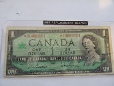 1967 Canada  dollar Bill Replacement note Low Serial # *N/O0086161