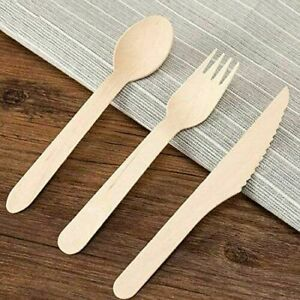 300 PC Disposable Wooden Cutlery Set Spoons, Forks & Knives Eco Biodegradable