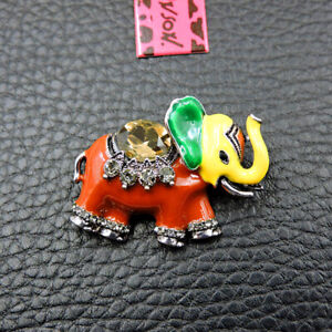 Betsey Johnson Red Enamel Crystal Cute Elephant Charm Animal Brooch Pin Gift