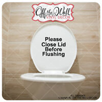 "Bathroom Toilet ""Please close lid before Flushing"" Toilet Lid Decal Sticker #BL4"