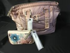 2008 Stella McCartney LeSportSac Travel Bag Tote Beige with Accessory Bag NEW
