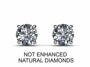 0.75 ctw D/VS2 Real 100% Natural Round Cut Diamond Stud Earrings 14k White Gold