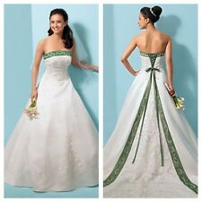 Ivory Alfred Angelo Dream In Color Wedding Dress Green A Line Strapless Size 14