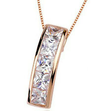 Rose gold finish simple clear elegant pendant necklace quality jewellery UK