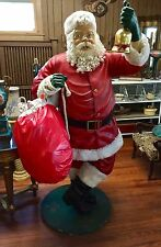 6 Ft. Santa Claus with Cloth Toy Bag Poly-Resin Fiberglass Christmas Statue