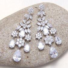 Platinum Plated Cubic Zirconia Chandelier Dangle Hanging Teardrop Stud Earrings