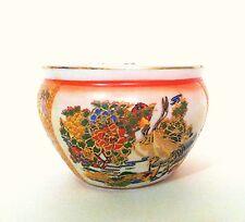 Ceramic  Fish Bowl Bamboo Planter Pot 3'' Satsuma Style in Peony BirdDesign