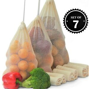 7pcs Reusable Mesh Produce Washable Fruit and Veg Bags Grocery Shopping Storage