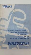 Yamaha Motorbike WR250Z(J) Factory Owner's Service Manual. 1st ed., July 1996