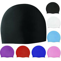 Silicone Swimming Cap Solid Color Long Hair Clean Swim Pool For Adult Men Women