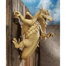 Gothic Wall Climbing Snarling Sneering Medieval Dragon Home Garden Sculpture New