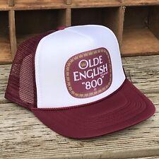 Olde English 800 Malt Liquor Beer Trucker Hat Vintage Snapback Party Cap Maroon