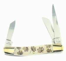 """Frost Steel Warrior Maple Leaf Bone 3.25"""" Stockman Folding Pocket Knife"""