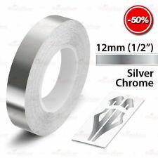 "SILVER CHROME 12mm 1/2"" Roll Pin Stripe PinStriping Line Tape Vinyl Car STICKER"