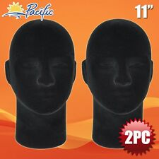 Halloween Male Styrofoam Foam black velvet like Mannequin head display wig 2Pc