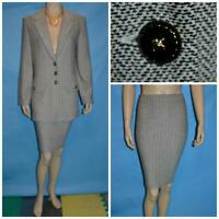St John Collection Tweed Black Cream Jacket Skirt L 12 10 2pc Suit Collared