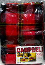 Vintage Beacon Campbell Red & Blk Plaid Picnic Blanket Lap Throw Car Camping NEW