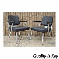 2 Vintage Mid Century Modern General Fireproofing Good Form Aluminum Arm Chairs