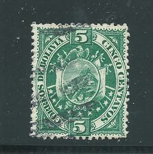 BOLIVIA Scott 42 used 5ct green National Coat of Arms