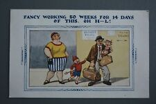 R&L Postcard: Comic, HB 4024 Hard Working Man on Holiday with Wife & Kids