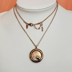"""ORIGAMI OWL ROSE GOLD FLOATING CHARM Family PENDANT NECKLACE w CHARMS 24"""" CHAIN"""