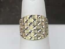 10K TWO-TONE Gold Wide Dome Cigar Diamond Cut Band Wedding Ring sz 6