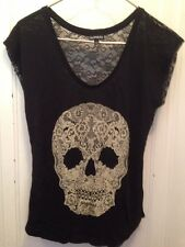 EXPRESS Black LACE & RHINESTONE SKULL TOP GOTH ROCK PUNK VOGUE XS Halloween