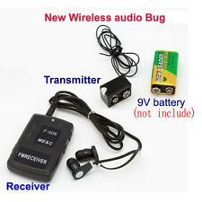 F908 Fm Wireless Transmitter Receiver Covert Audio Listening Device Ear Bug Spy