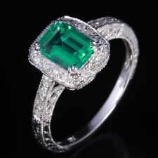 Vintage Antique Sterling Silver 925 Emerald Natural Diamonds Ring Women Ring