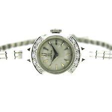 .11 ct tw Diamonds Single Cut Omega 14k White Gold Vintage Hand Winding Watch