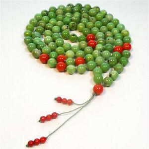 8mm Natural Chrysoprase 108 Beads Handmade Tassel Necklace Mala Unisex Buddhism