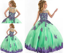 Mint Pretty Ball Gown Flower Girl Dresses For Girls Pageant Communion Prom Dress