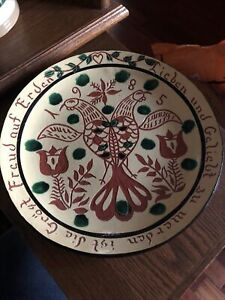 Redware Pottery Charger Plate Dorothy Long