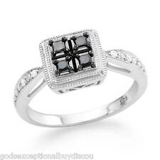 PRINCESS BLACK & WHITE DIAMOND HALO ENGAGEMENT WEDDING RING SZ 7 SIZEABLE + GIFT