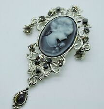 Cameo Victorian black diamond Crystal color party wedding Pin Brooch jewelry #3