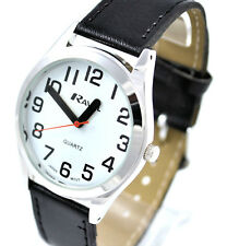 Ravel Mens SUPER BOLD BIG NUMBERS Watch Easy Read White Face Black Strap, Sil