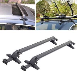 US Universal Car Roof Rail Luggage Rack Baggage Carrier Cross Bar Aluminum Pair