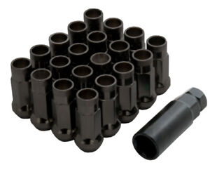 20x Steel Extended Open Ended Wheel Nuts Black JMD Style - V48 M12x1.5mm